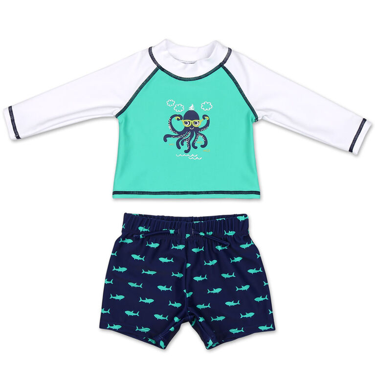 Koala Baby 2Pc Long Sleeve Octopus Rash Guard With Trunk, 12 Months