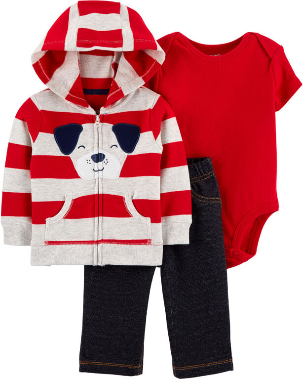 Carter's 3-Piece Dog Cardigan Set - Red, 6 Months