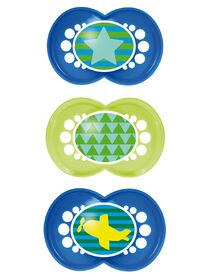 MAM Trends 6+ Pacifiers, Triple Pack Combination - Blue