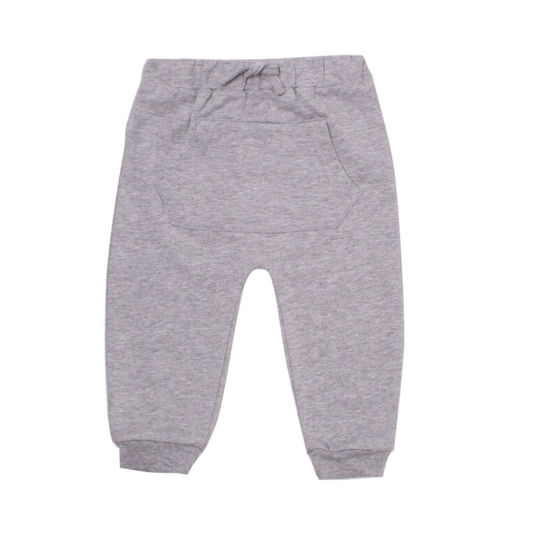 Koala Baby Boys Cotton French Terry Jogger Pants With Pocket and Drawstring Grey 18-24M