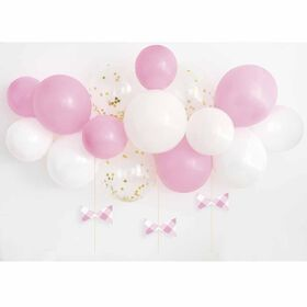 Pink Gingham 1st Bday Balloon Arch Kit