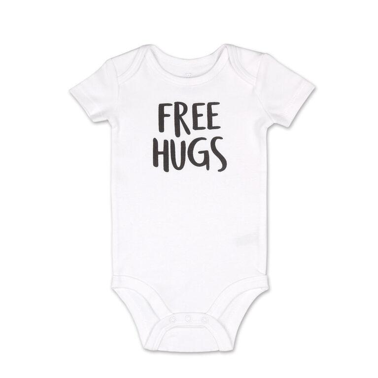 Koala Baby 4 Pack Short Sleeved Bodysuit, Free Hugs, 3-6 Months