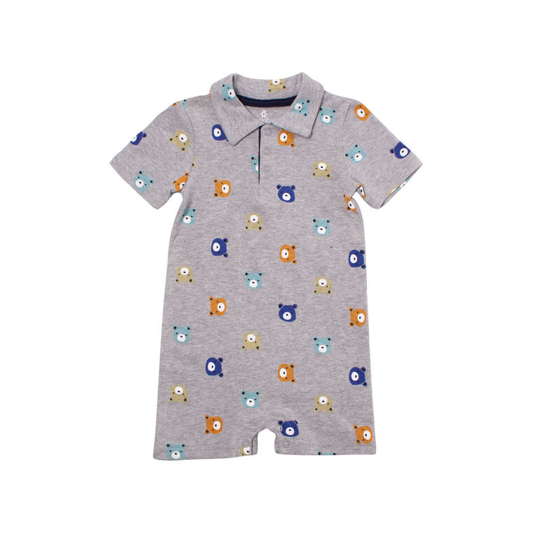 Snugabye Boys Polo Romper - Grey W Aop Bear 18 Months
