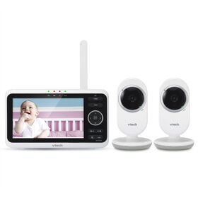 "VTech VM350-2 5"" Digital Video Baby Monitor with 2 Cameras and Automatic Night Vision - White"