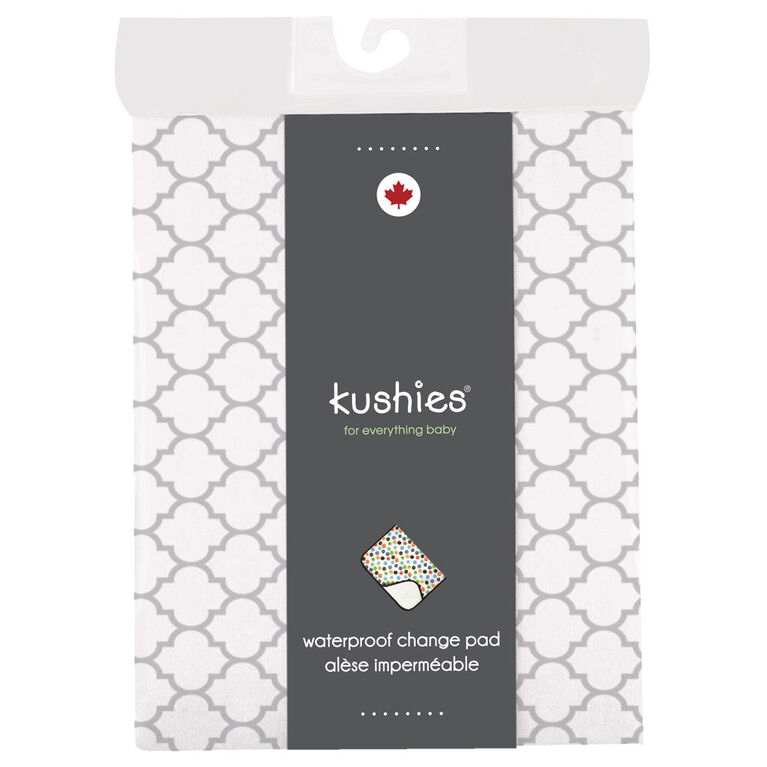 Kushies Portable Changing Pad Liner Flannel Lt. Grey Ornament