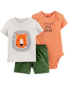 Ensemble 3 pièces couvre-couche à lion Carter's – orange/vert, 3 mois