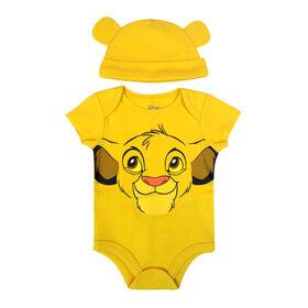 Disney Lion King 2-Piece Bodysuit and Hat Set - Yellow, 12 Months