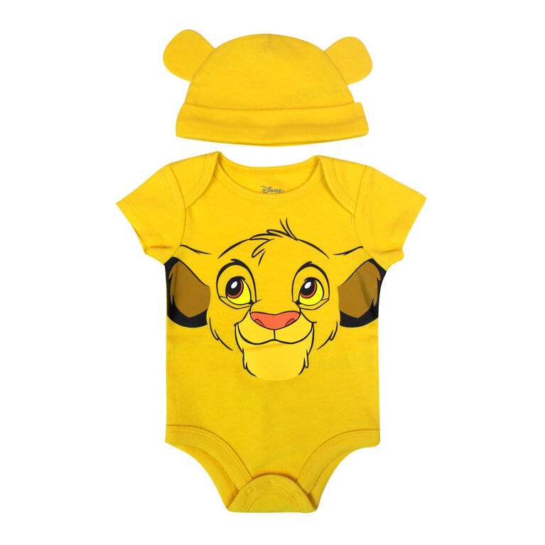 Disney Lion King 2-Piece Bodysuit and Hat Set - Yellow, 12 Months