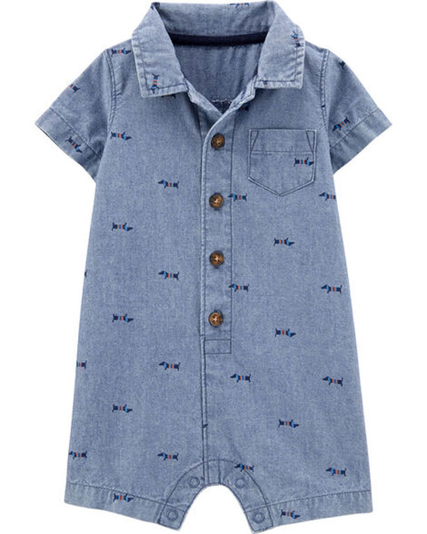Carter's Dog Chambray Romper - Blue, 12 Months