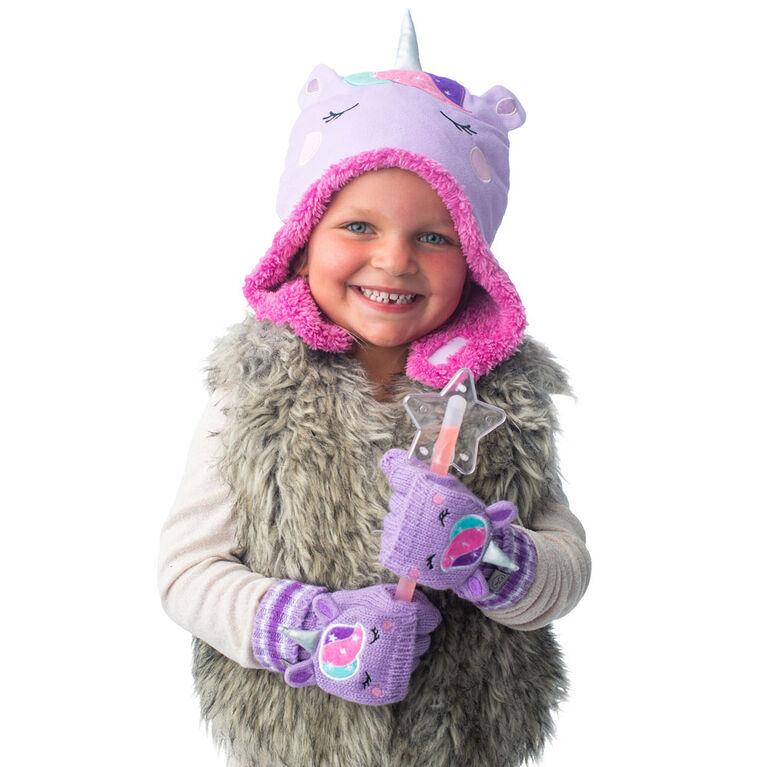 FlapJackKids - Bonnet en polaire Sherpa réversible pour bébé, enfant en bas âge, enfants, filles - Double épaisseur - Licorne / Narval - Grand 4-6 ans