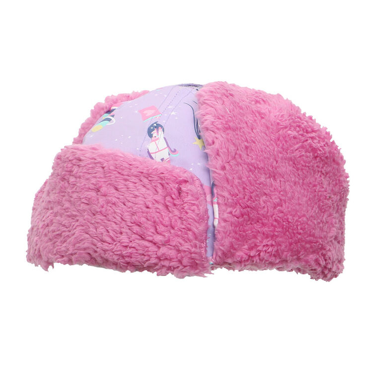 FlapJackKids - Baby, Toddler, Kids, Girls - Water Repellent Trapper Hat - Sherpa Lining - Unicorn/Lilac - Small 6-24 months