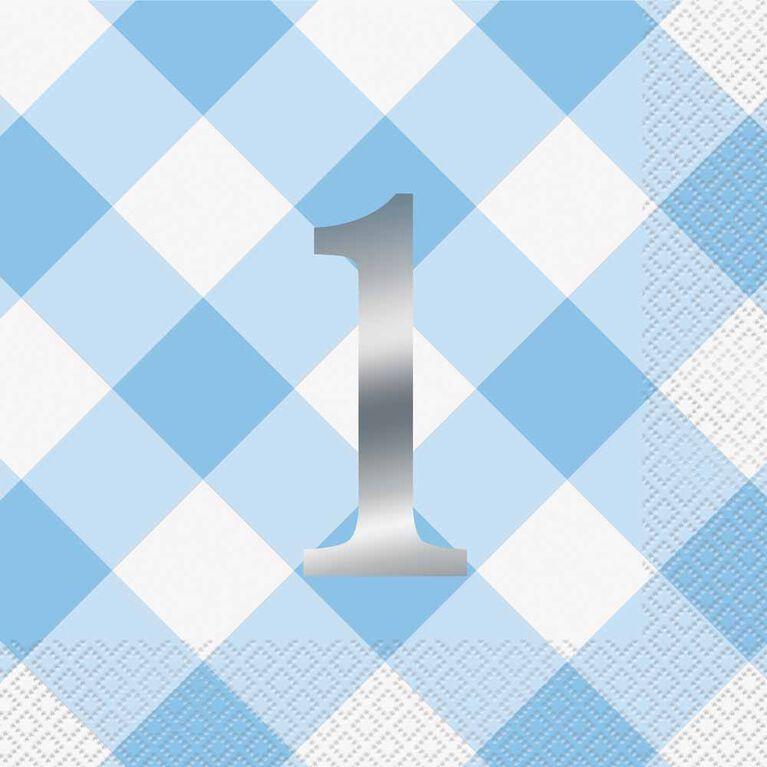 Blue Gingham 1st Bday Lunch Napkins 16 pieces