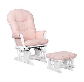 Lennox Furniture Carson White Glider & Ottoman Pink Ticking