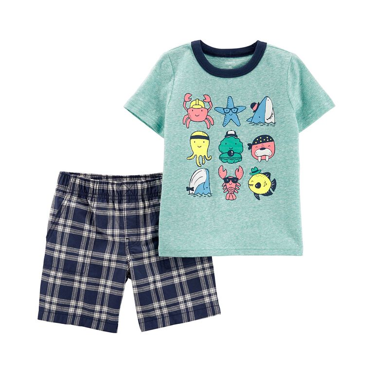 Carter''s 2-Piece Sea Creatures Tee & Plaid Short Set - Blue, 12 Months