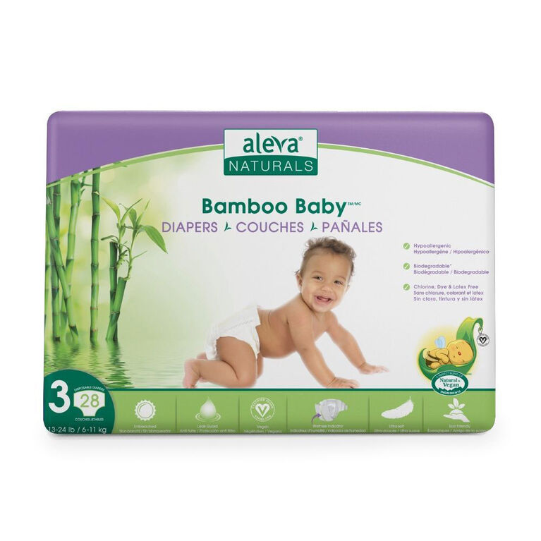 Aleva Naturals Bamboo Baby Diapers, 28 Count - Size 3