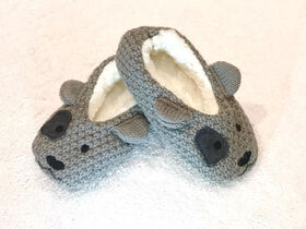 Tickle Toes - Grey Dog Slippers - 0-6 Months