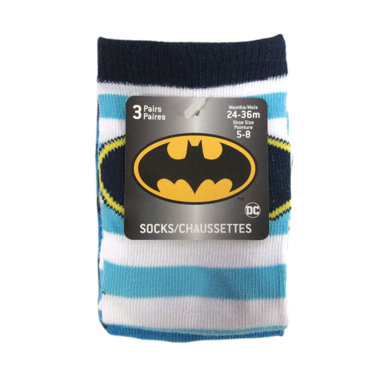 Warner Brothers - Boys 3 Pack Crew Sock - Batman, Assorted, 24-36 Months