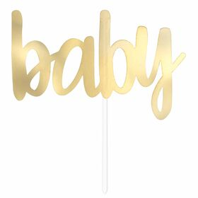 "Gold Foil ""Baby"" Baby Shower Cake Topper - English Edition"