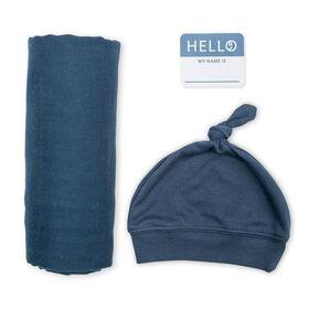 Lulujo Ensemble chapeau et couverture en bambou pour bébé nouveau-né Hello World Marine