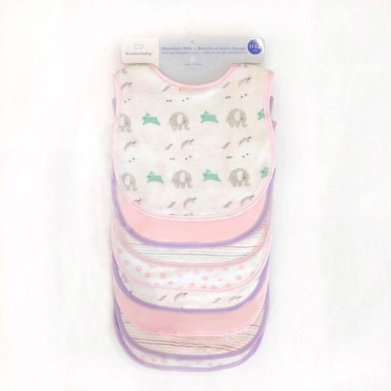 Koala Baby - 8 Pack Pink Unicorns Microterry