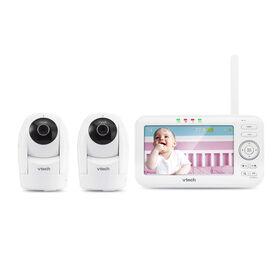 Moniteur vidéo numérique couleur VM5262-2 de 5 po avec 2 caméras à vue panoramique, inclinaison et zoom, et vision nocturne automatique - Blanc