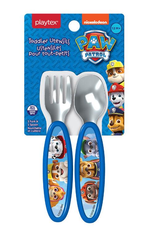 Ustensiles pour tout-petits Paw Patrol de Playtex ? Fourchette et cuillère bleues.