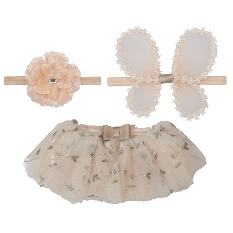 Elly & Emmy 3 Piece Floral Wing Embroidered Tutu Set and Flower Petal Wings