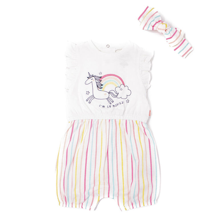 Mini Heroes Salopette Courte ensemble 2 pieces-Blanc-3M