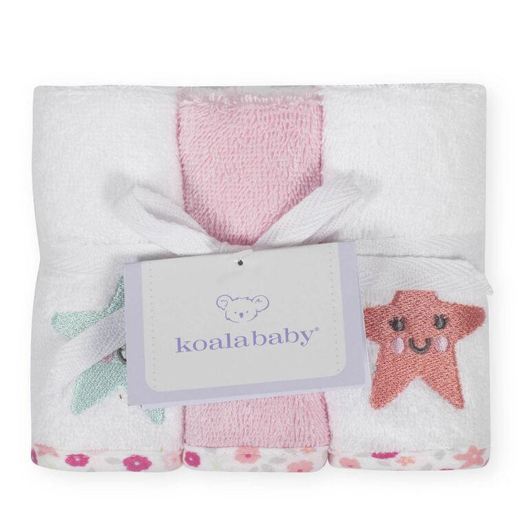 Débarbouillettes de Koala Baby paquet de 6 rose.