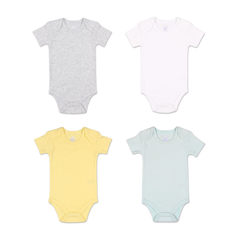 Koala Baby 4Pk Short Sleeved Solid Bodysuits, Yellow/Green/Heather Grey/White, 6 Month