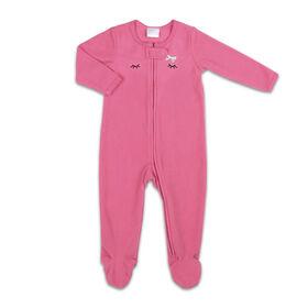 Koala Baby Microfleece Sleeper Pink Lashes w/ Bow, Newborn.