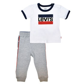 Levis Top and Jog Pant Set - White, 9 Months
