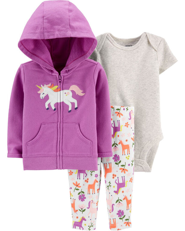 Carter's 3-Piece Unicorn Cardigan Set - Purple, 9 Months