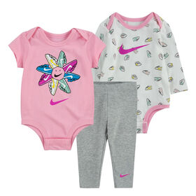 Nike ensemble 3 pièces Caches Couches et Legging - Rose, 0-3 nouveau née