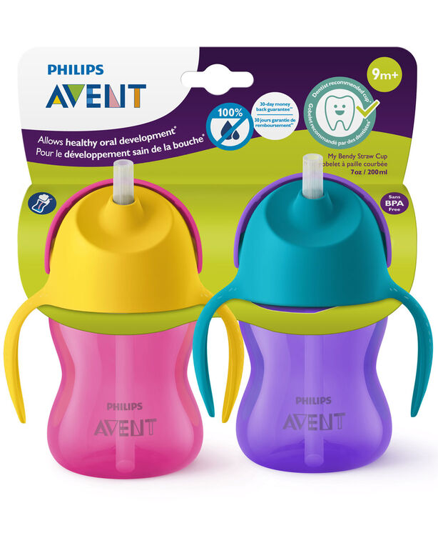 Philips Avent My Bendy Straw Cup, 7 oz, 2-Pack - Pink/Purple