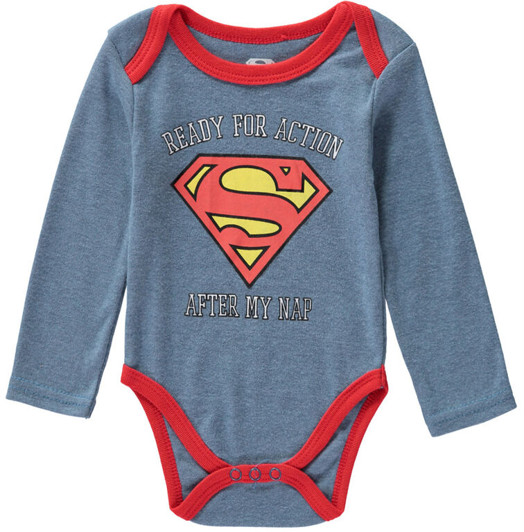 Superman 3 Piece Bodysuit Pant Bib Set - 0-3 Months - Blue