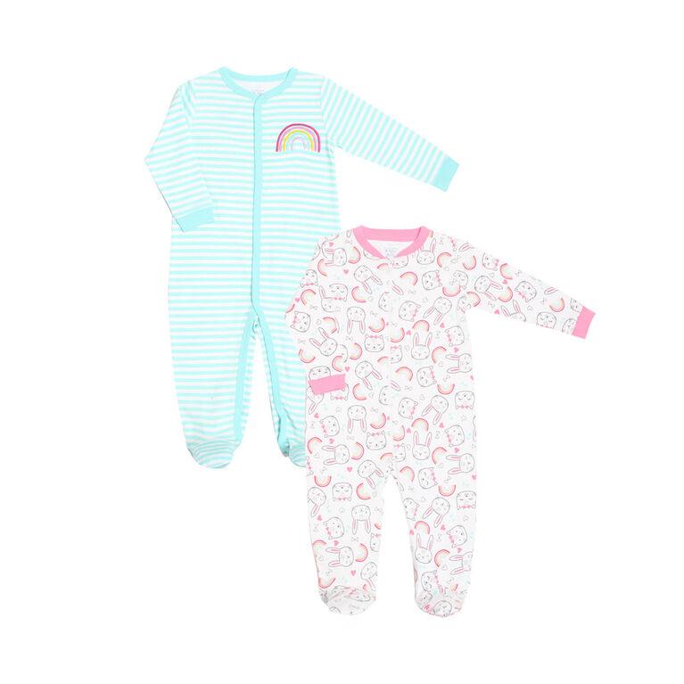 Koala Baby Girls 2-Pack Sleeper- 'Rainbow/Bunny' Teal, Pink  0-3 Months