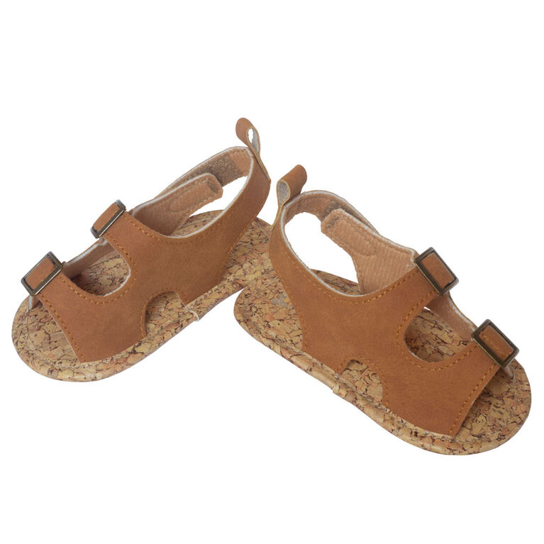 So Dorable Brown Faux Leather Sandals With Metallic Trim size 0-6 months