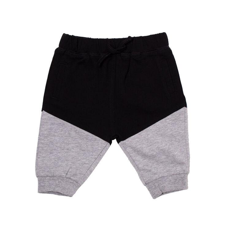 Koala Baby Boys Cotton French Terry Jogger Pants With Pocket and Drawstring Black&Grey 9-12M