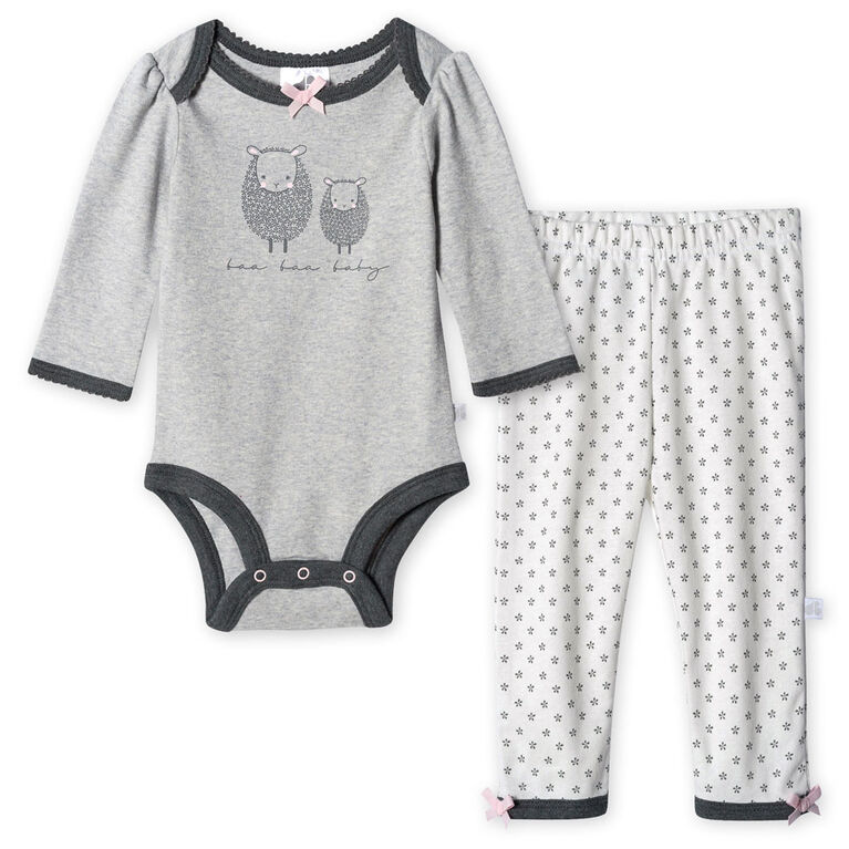 Just Born Baby Girls' 2-Piece Organic Long Sleeve Onesies Bodysuit and Pant Set - Lil' Lamb 12 months