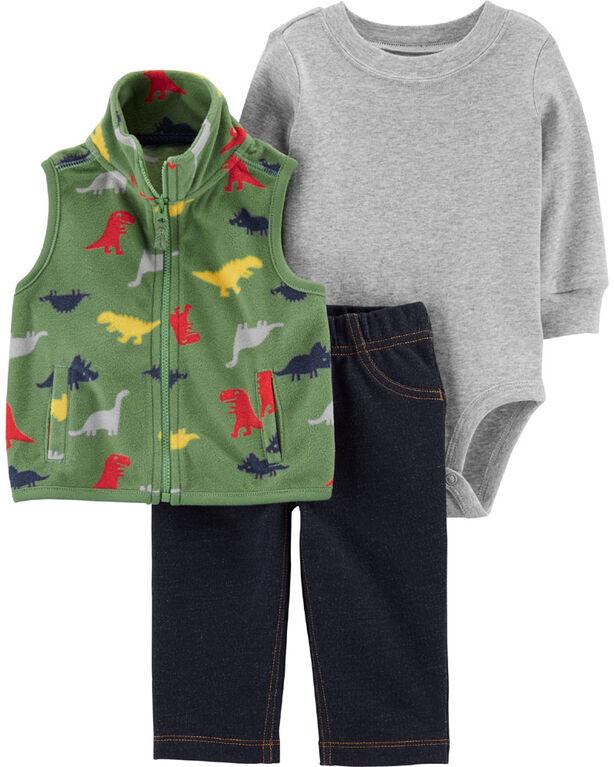 Carter's 3-Piece Dinosaur Vest Set - Green, Newborn