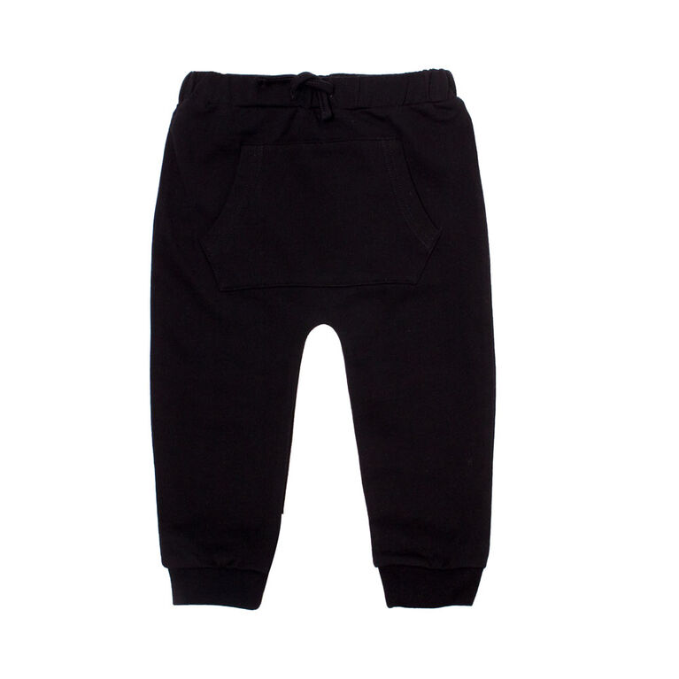 Koala Baby Boys Cotton French Terry Jogger Pants With Pocket and Drawstring Black 3-6M