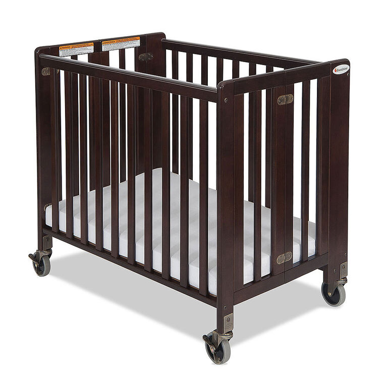 Foundations wood compact folding crib, antique cherry finish