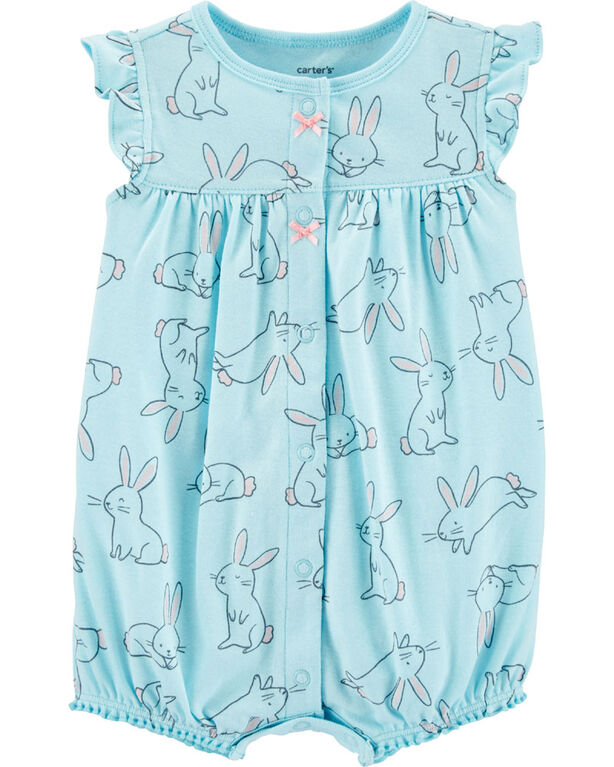 Carter's Bunny Snap-Up Romper - Blue, 12 Months