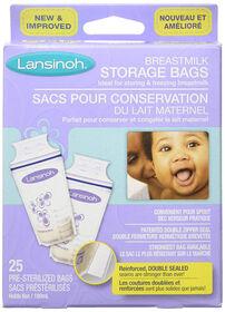 Lansinoh Sachets de Conservation de Lait Maternel 50 Sachets Pré-Stérilisés.