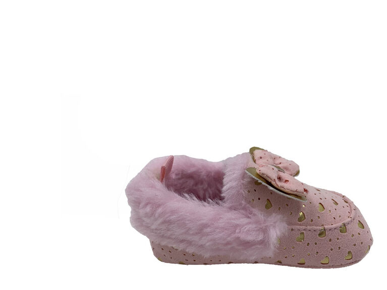 First Steps Pink Faux Suede Girls Slippers with Gold Hearts Size 3, 6-9 months
