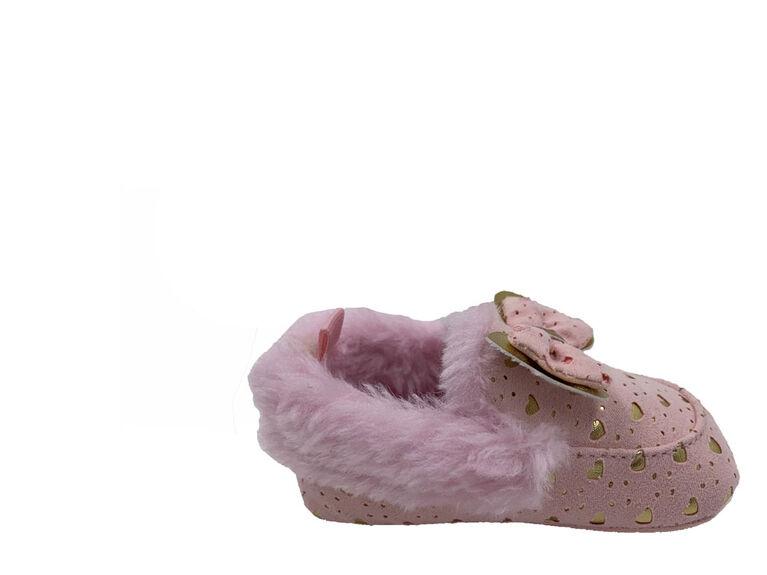 Chaussons de faux suédé avec coeurs d'or de First Steps Taille 3, 6-9 mois