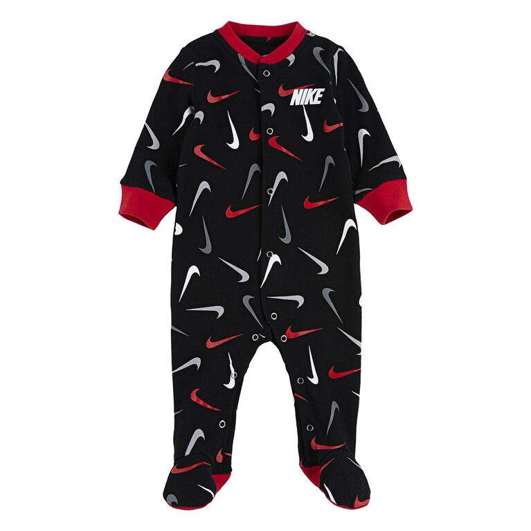 Nike footed Coverall - Black, 0-3 newborn