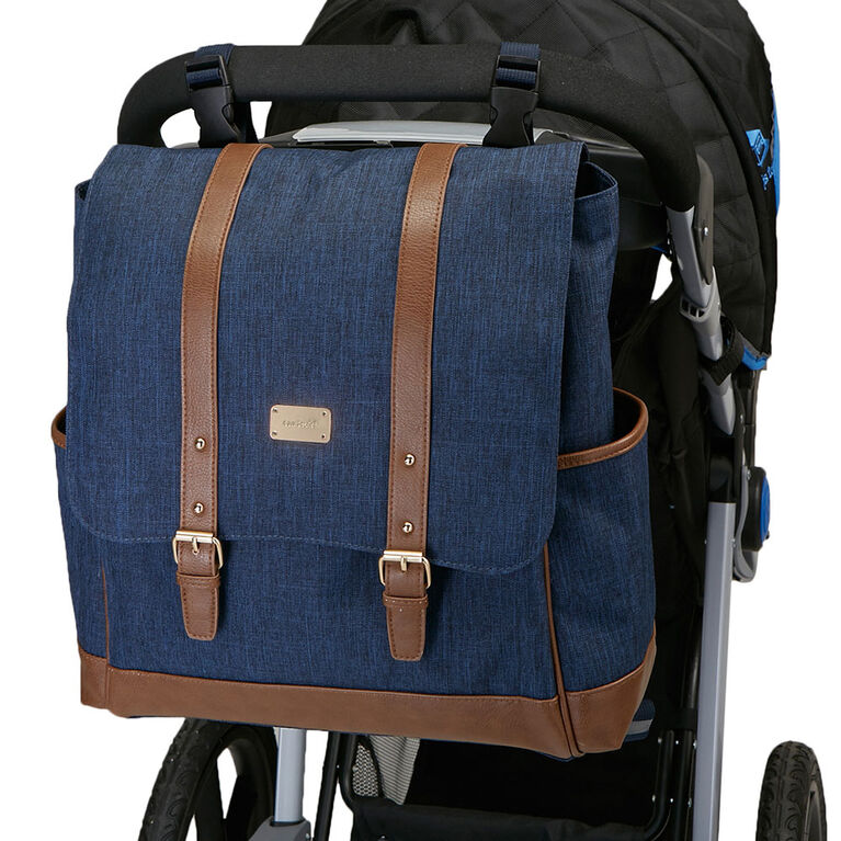 Carter's The Stride Backpack Diaper Bag - Chambray with Tan Trim
