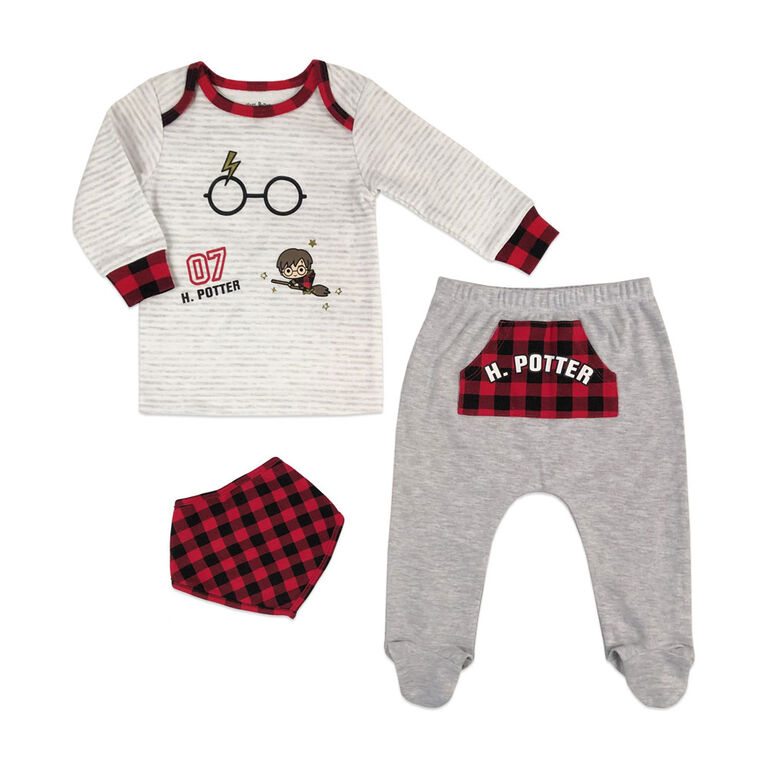 Harry Potter 3 Piece Layette Set - Grey, 6 Months.